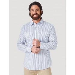 Wrangler Men's White Grey Striped Snap Shirt