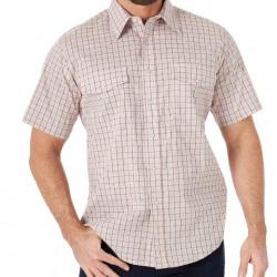 Wrangler Men's Wrinkle Resist Short Sleeve Snap Brown Western Shirt