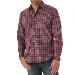 Wrangler Men's Wrinkle Free Red Plaid Snap Western Shirt