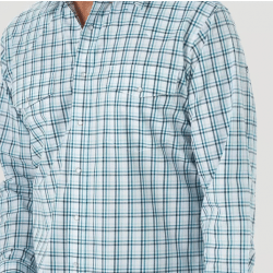 Wrangler Men's Wrinkle Free White Teal Turquoise Plaid Snap Western Shirt