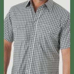 Wrangler Men's Wrinkle Free Short Sleeve Green Grey Plaid Snap Western Shirt