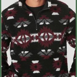 Wrangler Men's Aztec Black Maroon Fleece Sweater