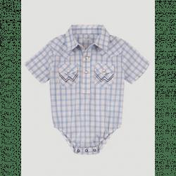 Wrangler Baby Toddler Blue White Plaid Onsie