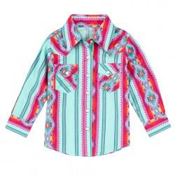 Wrangler Toddler Girl's Multi Colour Aztec Snap Shirt