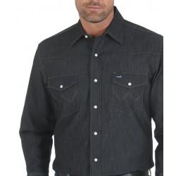 Wrangler Men's Advanced Comfort Dark Denim Western Shirt