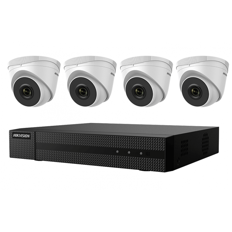 Hikvision IP Security Camera Kit 4 CH NVR with 4 x 4MP Turret Cameras, 2 8mm