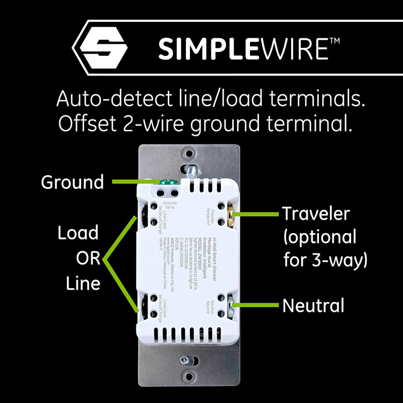 GE Enbrighten Zwave Plus Smart Dimmer With QuickFit and SimpleWire on